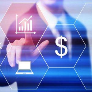 Ikony dotykowe - wykresy, dolar i komputer